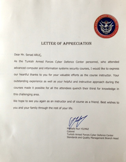 The most important APPRECIATION letter that i have received during my carrier from Turkish Armed Forces – Turkish General Stuff